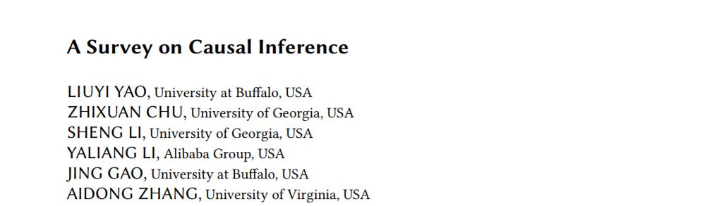 最新「因果推断Causal Inference」综述论文38页pdf,阿里巴巴、Buffalo、Georgia、Virginia