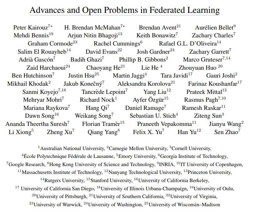 【重磅】联邦学习FL进展与开放问题万字综述论文,58位学者25家机构联合出品,105页pdf438篇文献