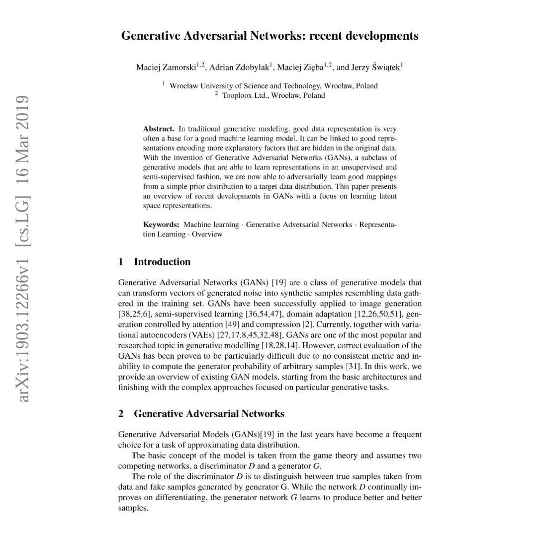 最新《生成式对抗网络GAN进展》论文