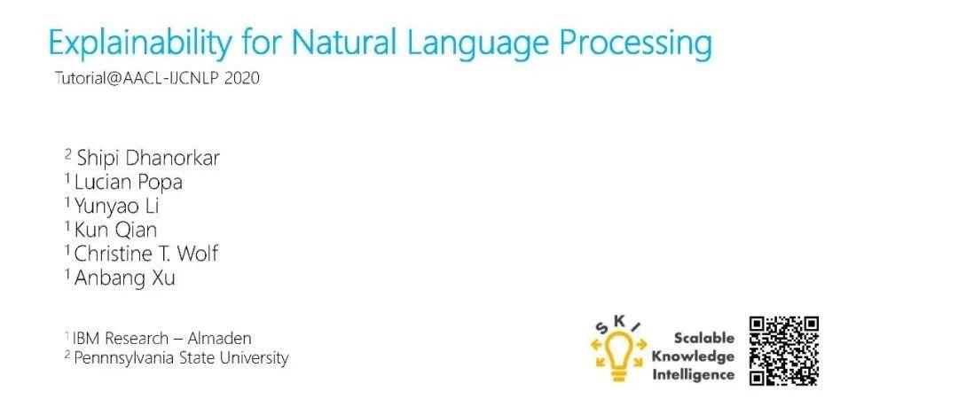 AACL2020最新《可解释人工智能与自然语言处理可解释性》教程,附159页ppt与视频