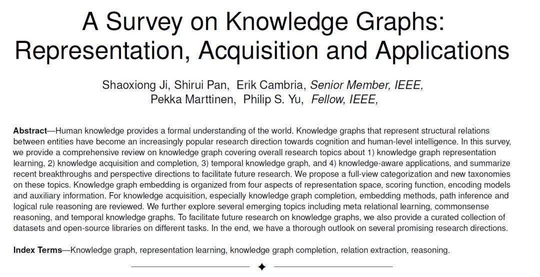 最新!知识图谱研究综述论文: 表示学习、知识获取与应用,25页pdf详述Knowledge Graphs技术趋势