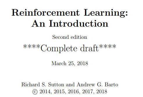 重磅干货-Richard S. Sutton-2018年强化学习教程免费下载