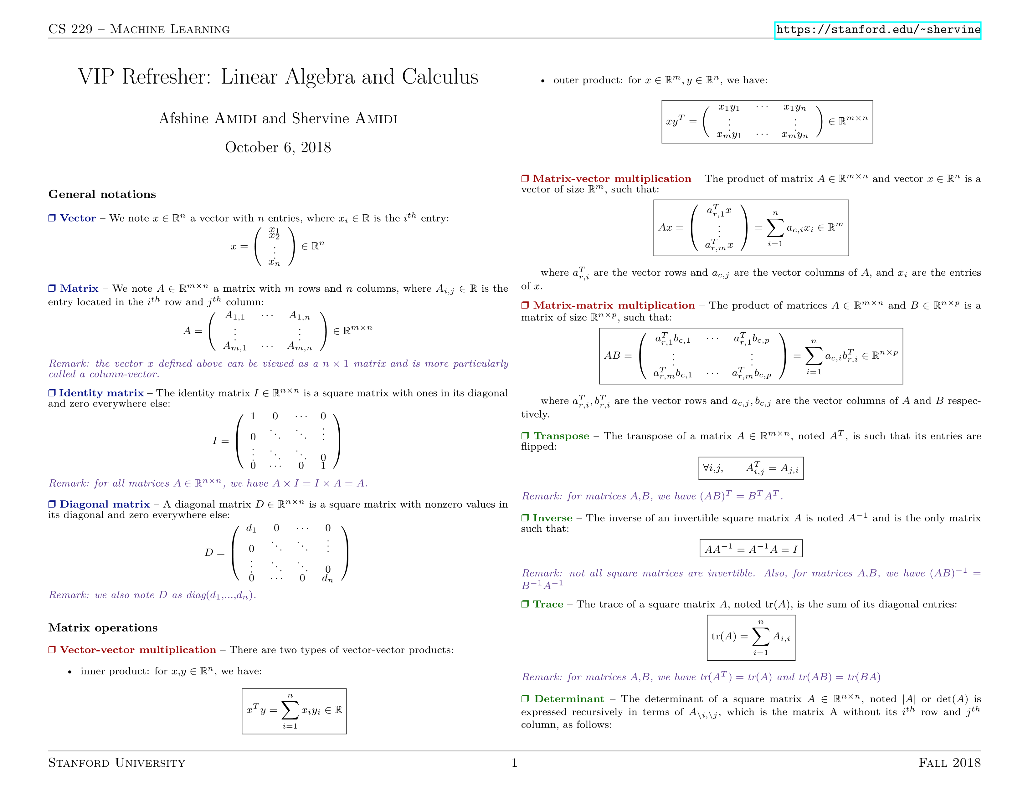 VIP Refresher: Linear Algebra and Calculus Cheat Sheets