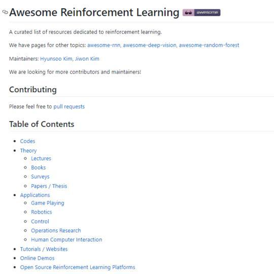 【强化学习资源集合】Awesome Reinforcement Learning