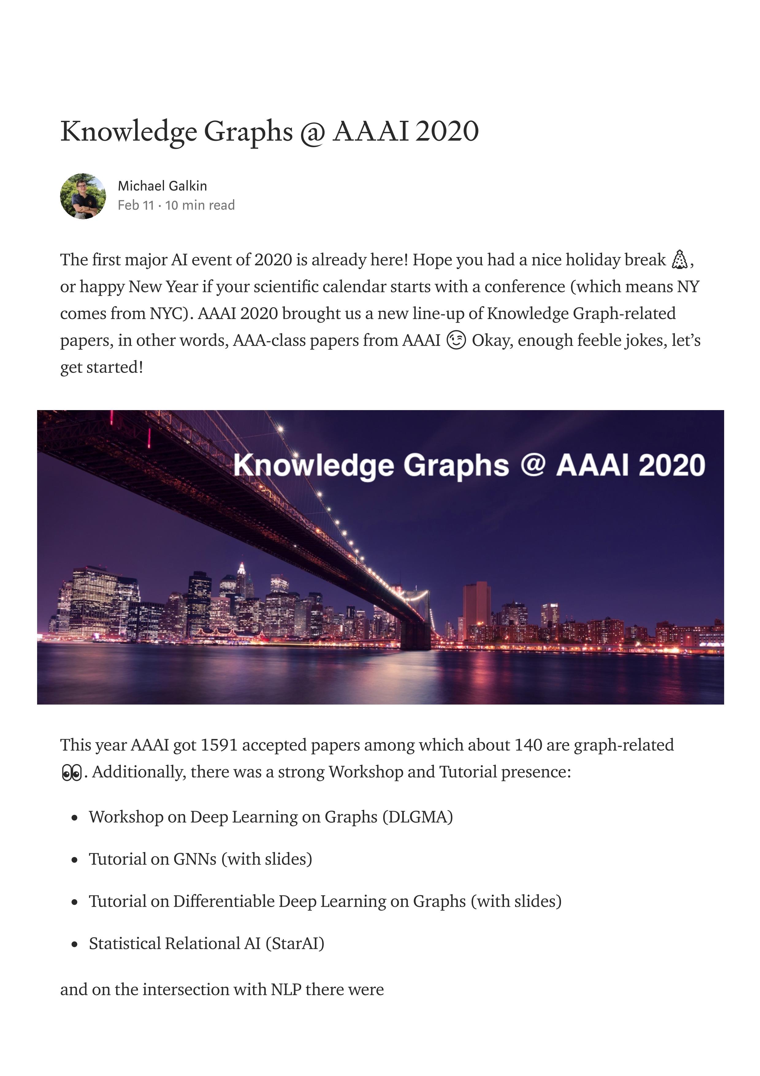 【AAAI2020知识图谱论文概述】Knowledge Graphs @ AAAI 2020