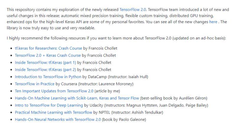 TensorFlow 2.0 学习资源汇总